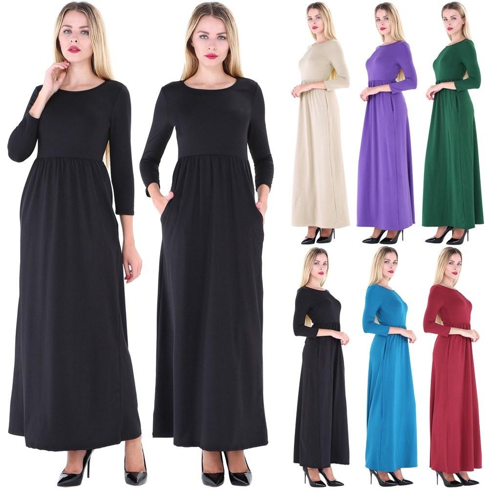 7dc3db464983 Vestito lungo delle donne della seconda mano O collo 3 4 maniche tasche  Tasche Elastico Vita alta Vestido Vestito elegante Autunno
