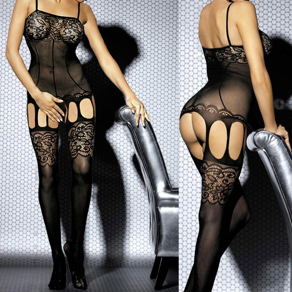 8ea03fdee7 Moda mujer Lencería Sexy espaguetis correa salida hueco media del cuerpo  Body ropa interior negro un tamaño negro - Tomtop.com