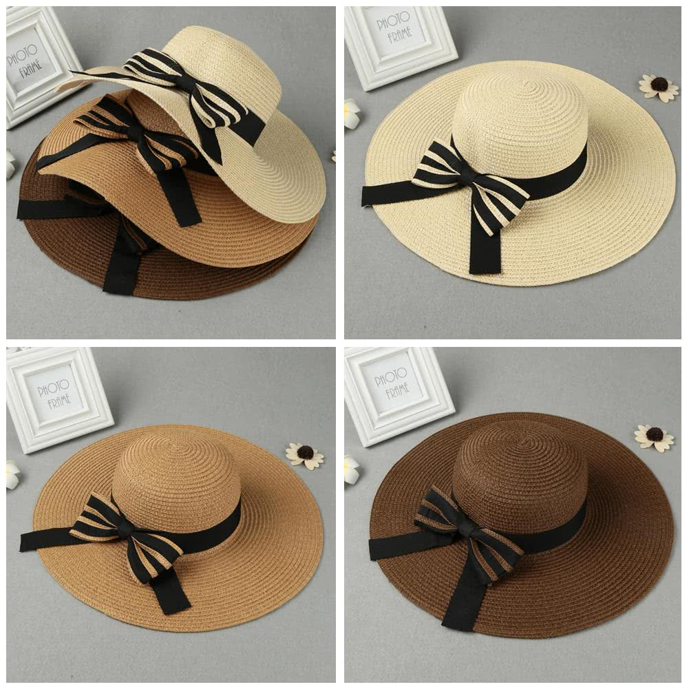 Summer Fashion Women Straw Floppy Hat Wide Brim Bow Foldable Sun Beach Holiday Casual Cap Beige/Khaki/Coffee khaki Online Shopping | Tomtop