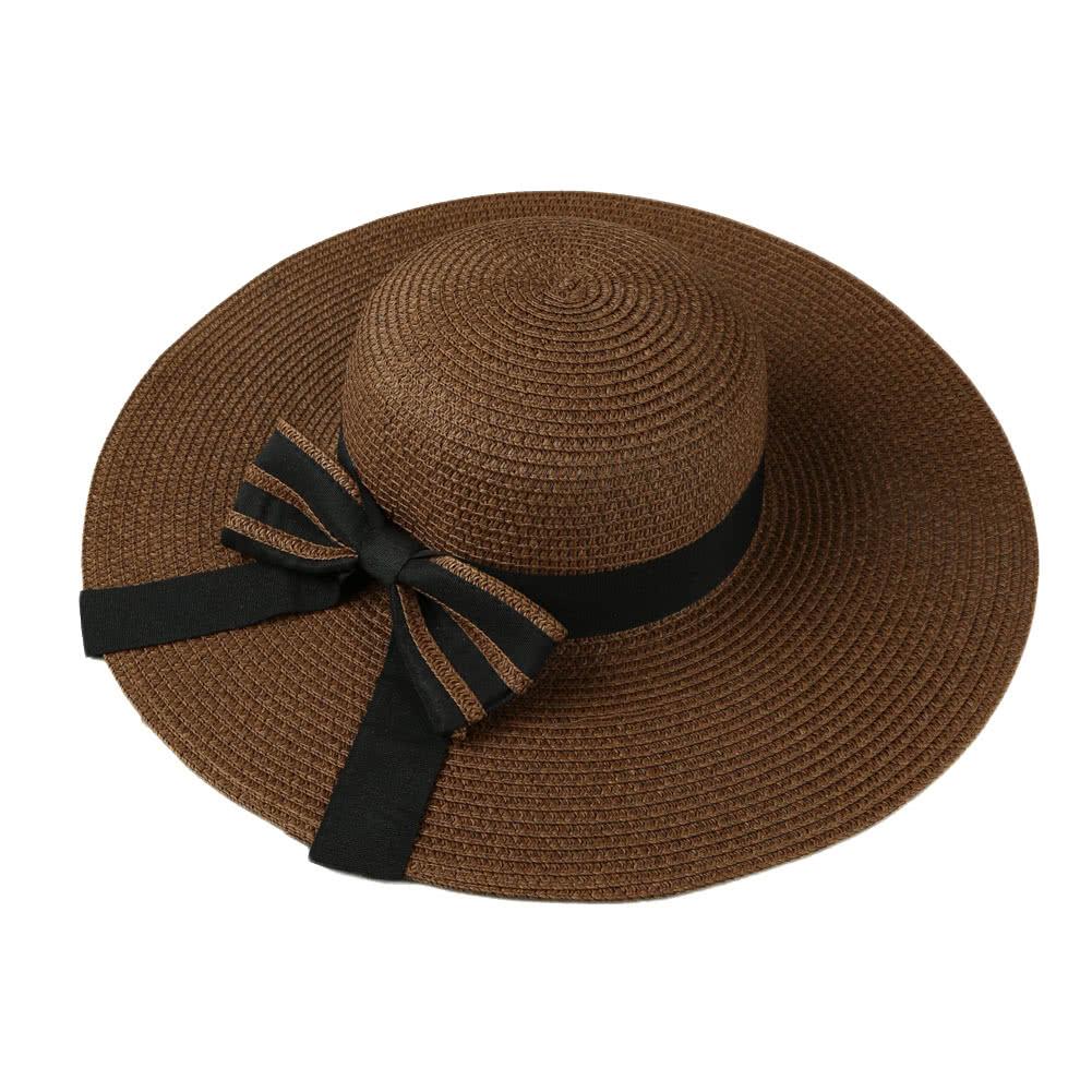 Summer Fashion Women Straw Floppy Hat Wide Brim Bow Foldable Sun Beach  Holiday Casual Cap Beige Khaki Coffee khaki Online Shopping  03842e521293