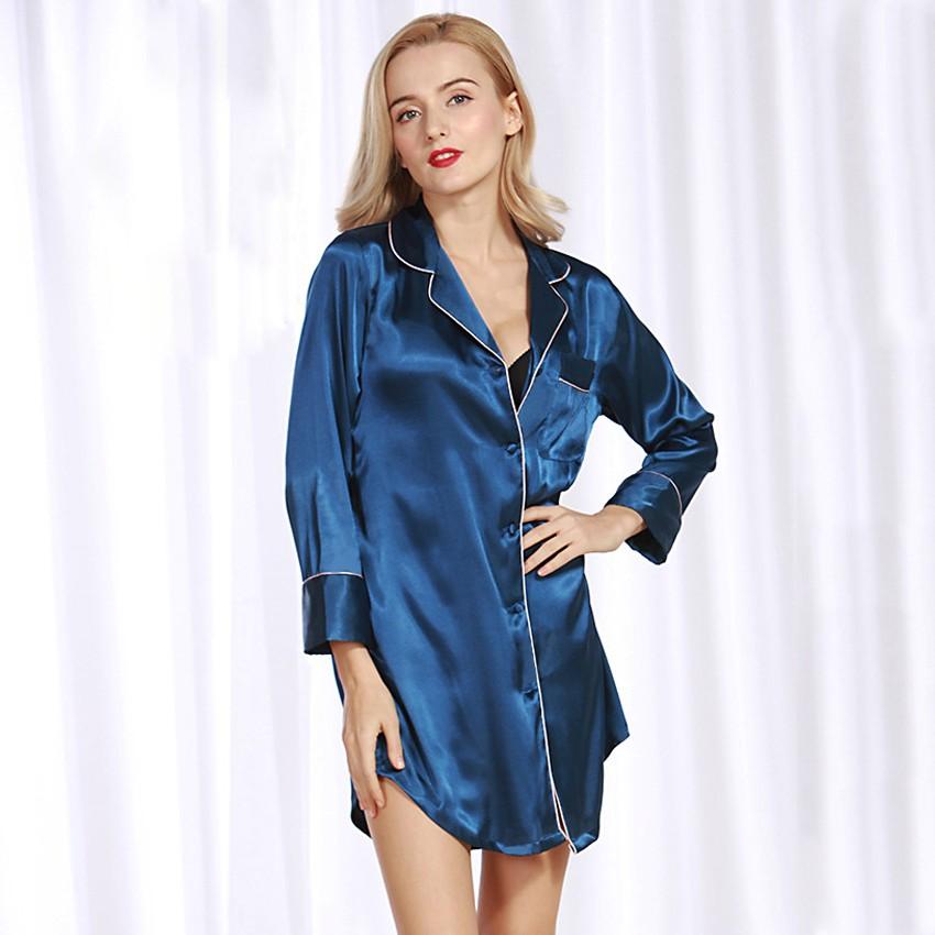 660938c16f Sexy Women Silk Satin Shirt Dress Pajamas Turn Down Collar Long Sleeve Sleepwear  Nightwear Pyjamas. Mouse over to zoom in