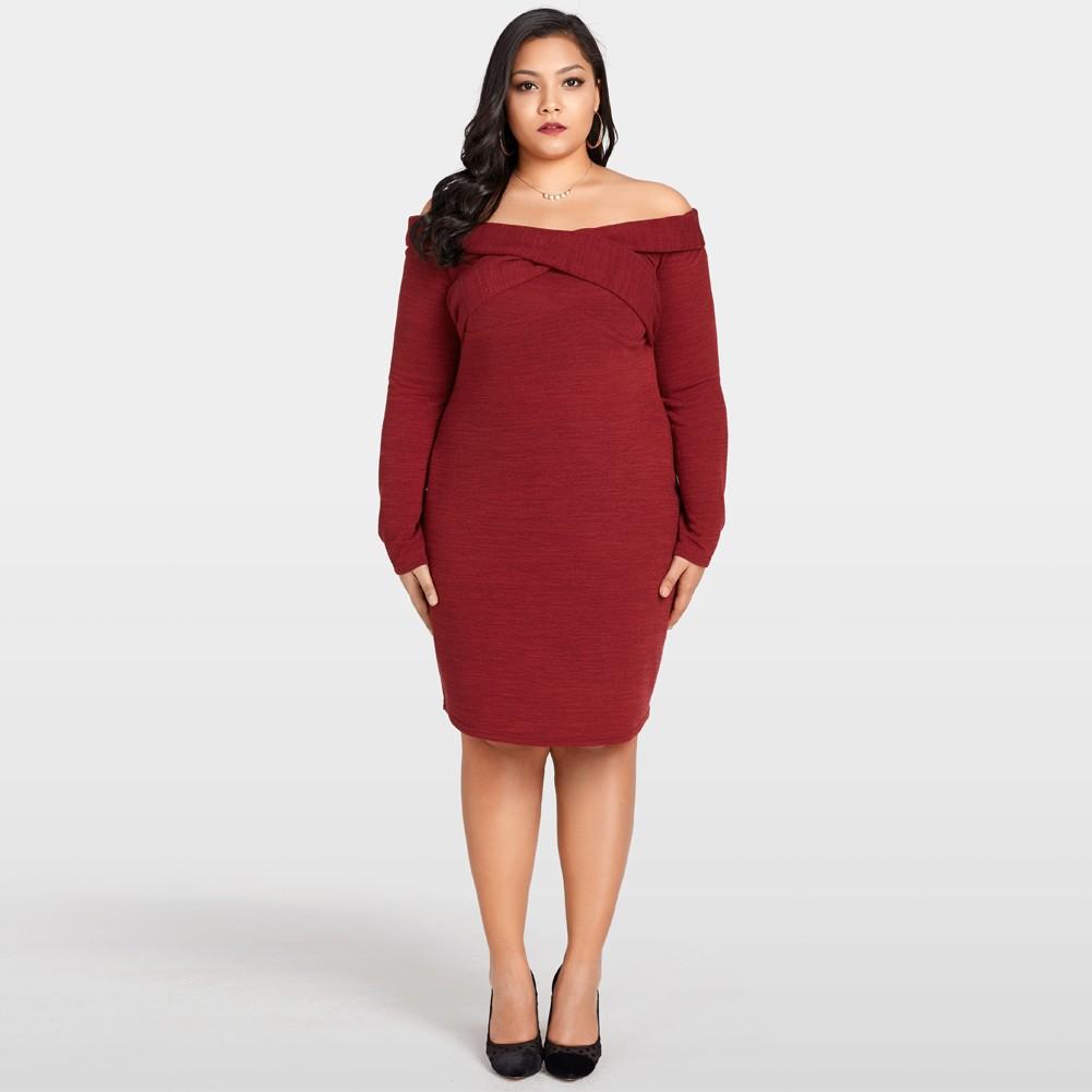 470c42d33f21 Sexy Women Plus Size Abito in maglia Off The Shoulder Cross Front manica  lunga Slim aderente Mini abito bordeaux borgogna xxl - Tomtop.com