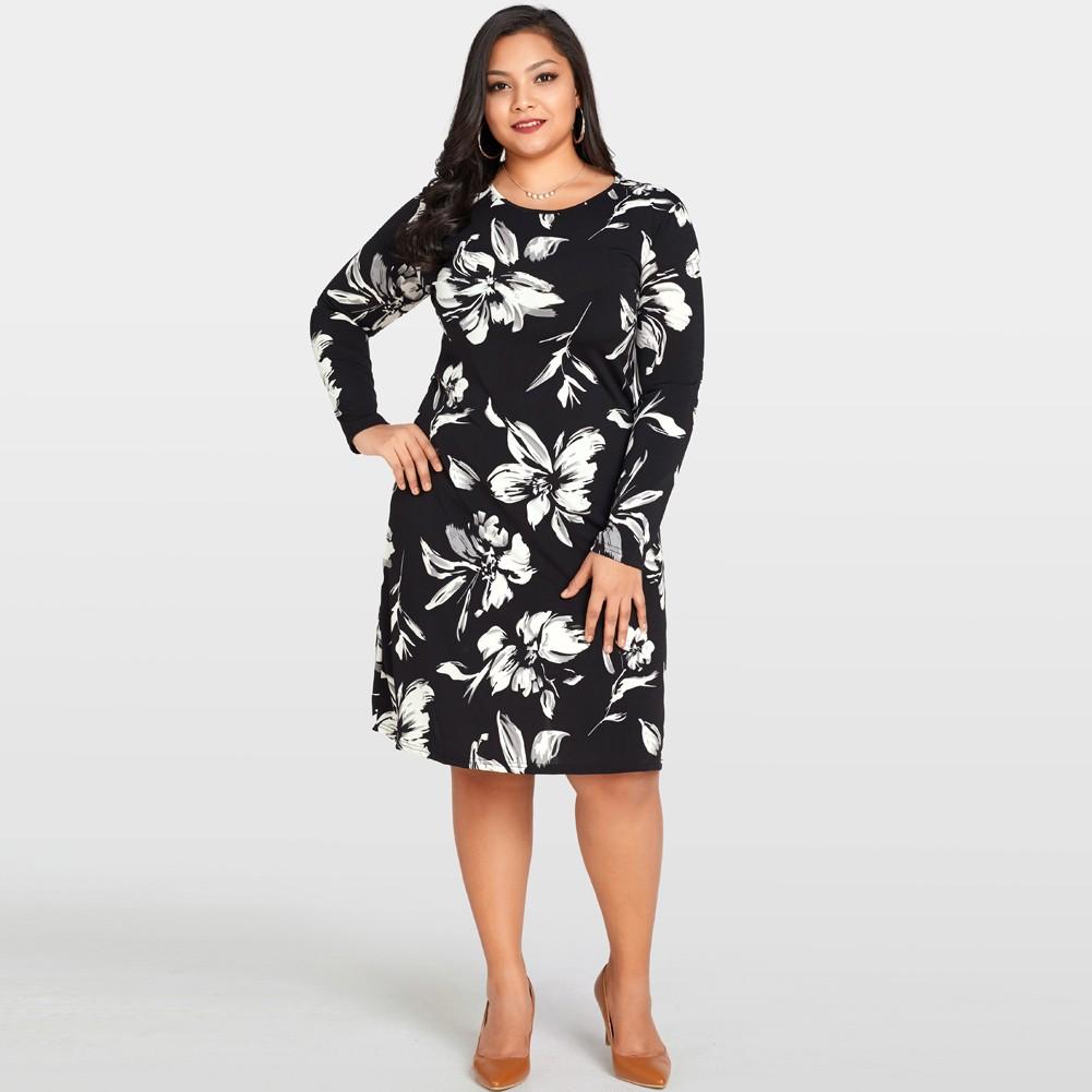 781ace69bcc Plus Size Midi Dress Long Sleeve