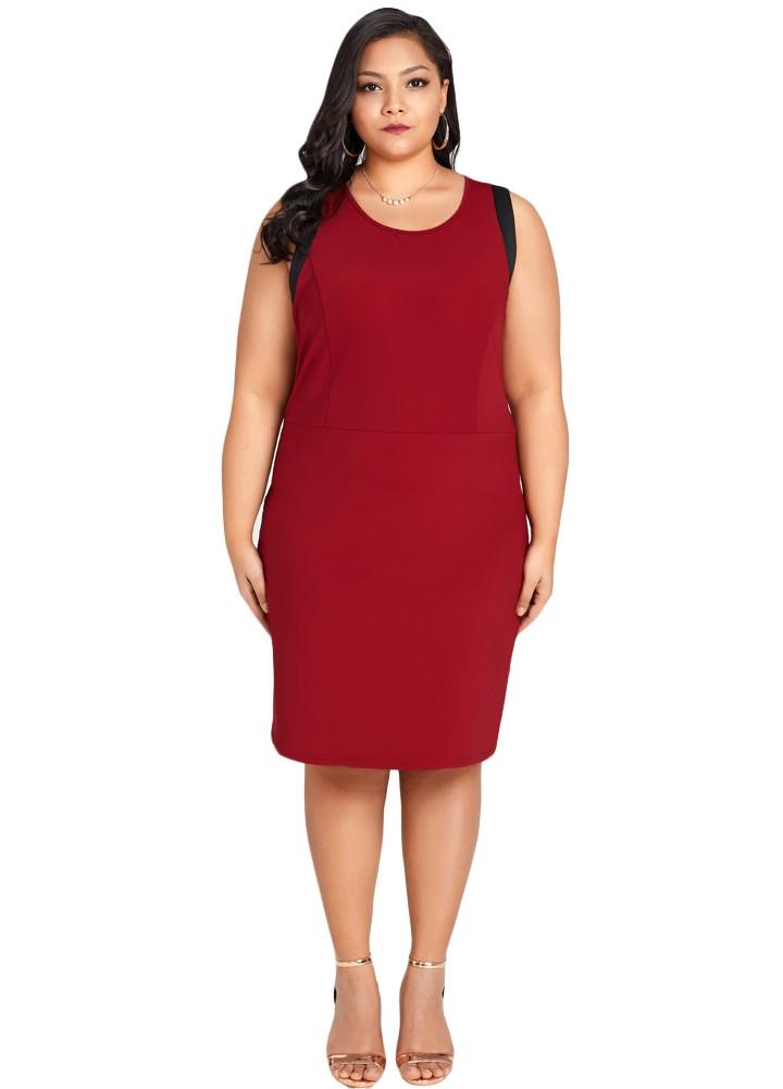 Sexy Women Plus Size Sleeveless Dress Color Splice O-Neck Zipper Elegant Party Straight Mini Dresses
