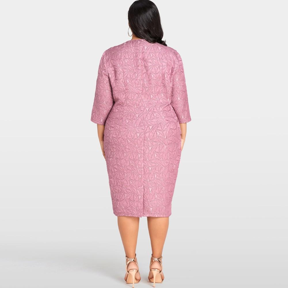 Vestido de mujer sexy talla grande Geometría sólida Vestido a media ...