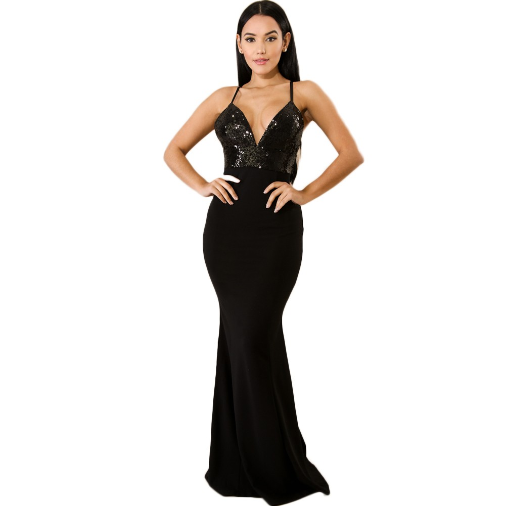 e03800d7f50d Women Sexy Sequined V Neck Backless Dress Elegant Bodycon Night Party Club  Maxi Dress Black/Burgundy black s Online Shopping | Tomtop
