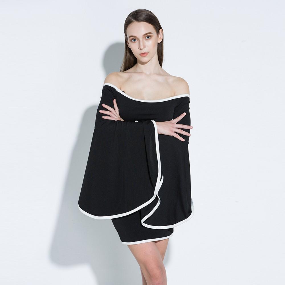 Mode Frauen Schulterfrei Minikleid Flare Ärmel Bodycon Party Kleid ...