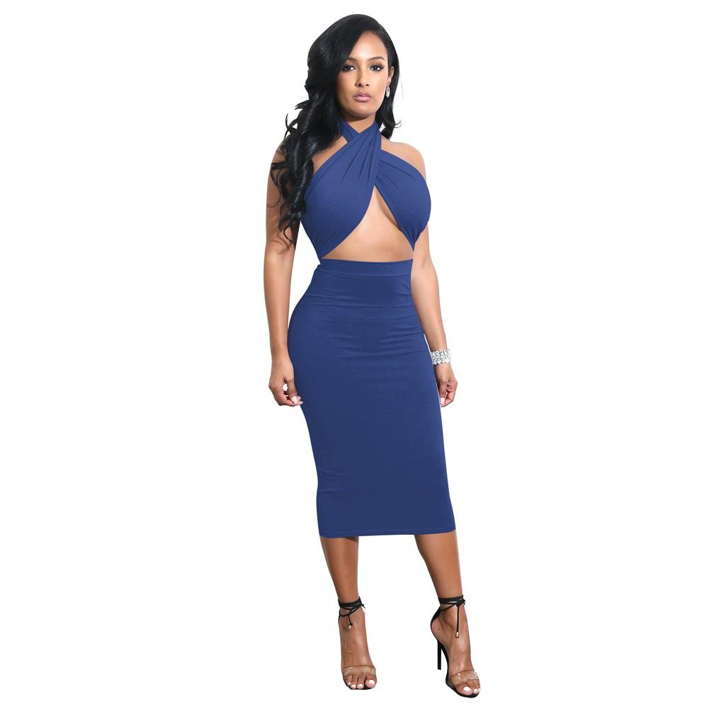 5d0fb416d5 Sexy Women Midi Dress Crisscross Halter Bandage Cutout Backless Solid Slim  Bodycon Dress Clubwear red blue s Online Shopping | Tomtop