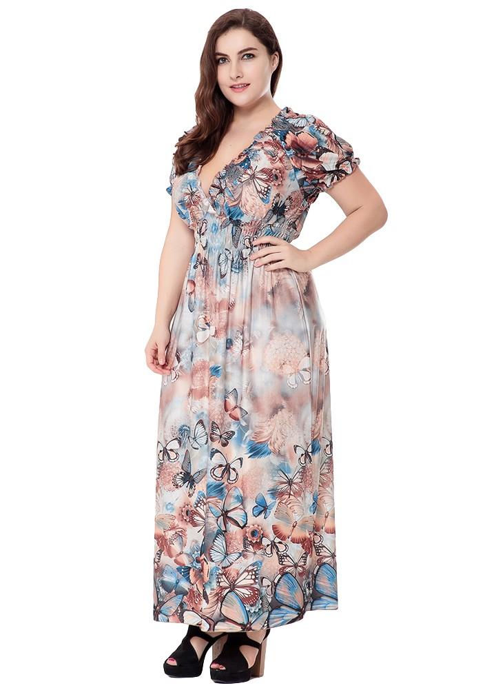 Neue Frauen Plus Size Bohemian Langes Kleid V-Ausschnitt Kurzarm ...