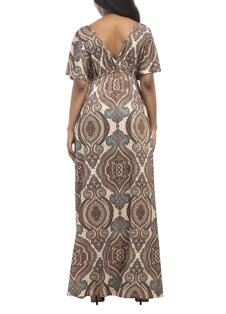 abc2d584541 Vintage Women Plus Size Maxi Dress Geometric Print Plunge V-Neck ...