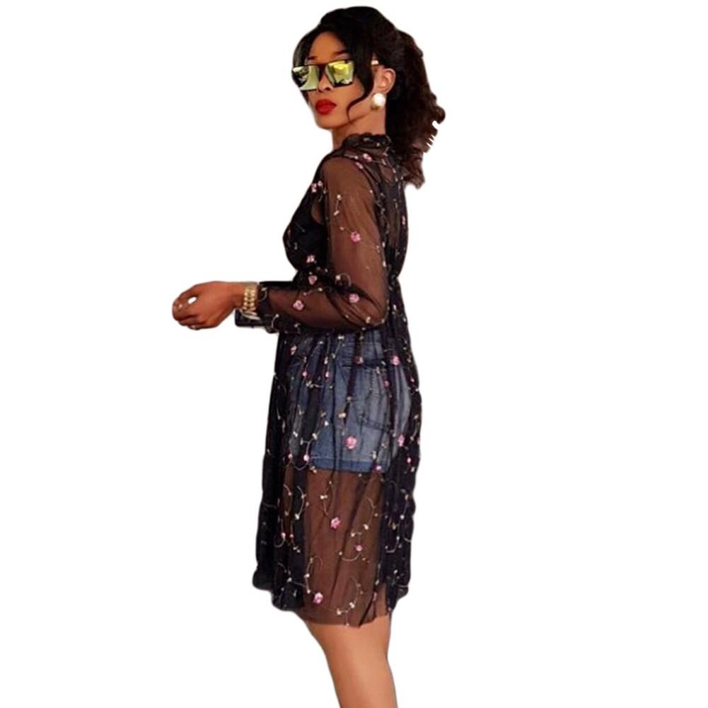 0a48df14f Vestido de malla transparente de las mujeres atractivas bordado floral ver  a través de manga larga un vestido de línea clubwear