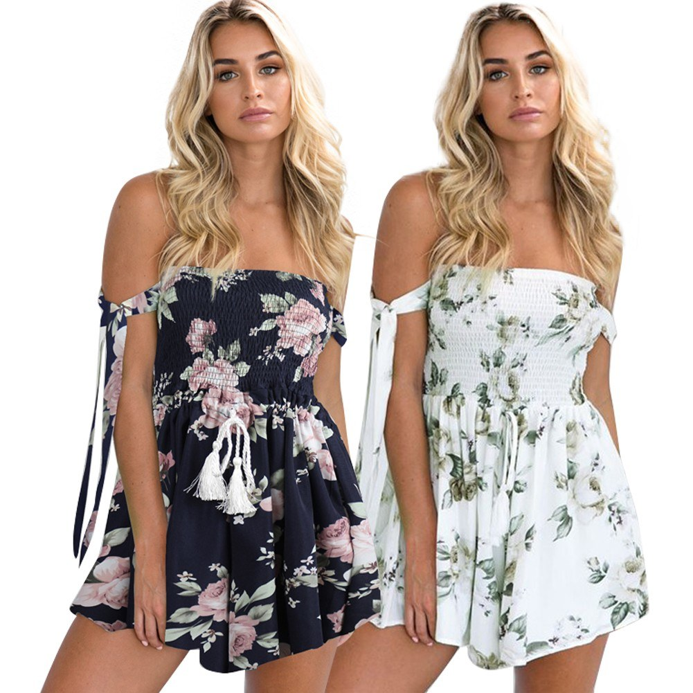 e2ee9baad39c Sexy Women Backless Floral Print Jumpsuit Off The Shoulder Elastic  Drawstring Romper Playsuit Beach Party Short Overalls White Blue