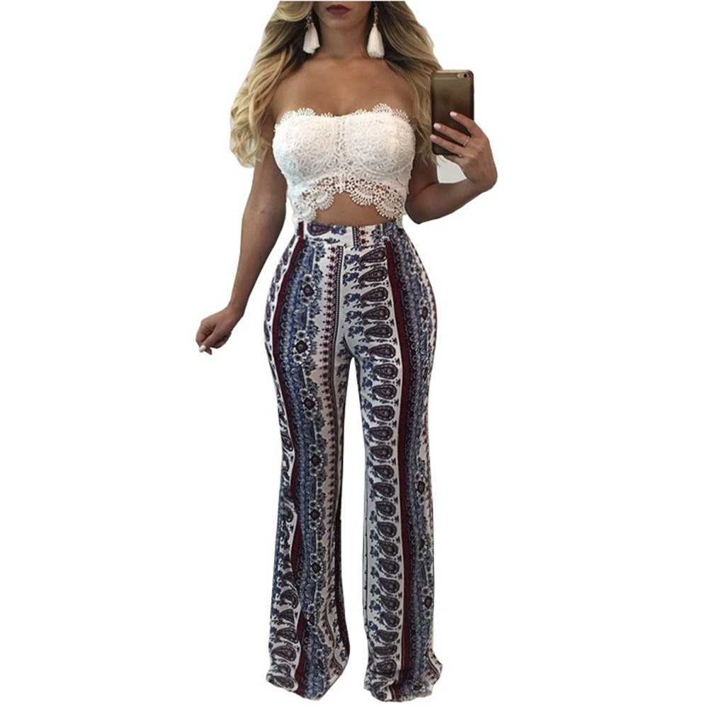 ea4653ea78cc New Vintage Boho Women Floral Print Wide Leg Pants High Waist Bell Bottom Flare  Trousers White white l Online Shopping