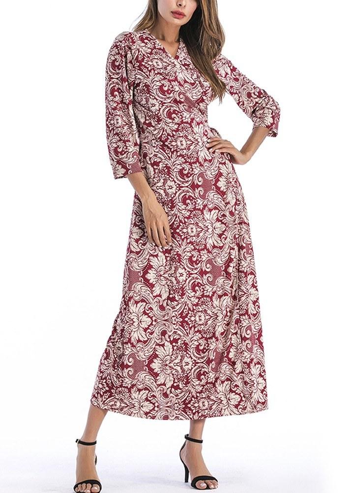 Vestido maxi de la impresión floral de las mujeres del vintage ...
