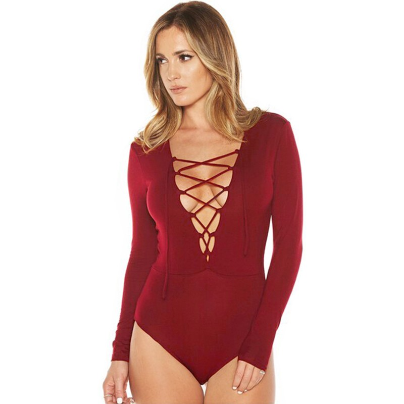 1ec81077b3af New Sexy Women Bodysuit Plunge Neckline Lace Up Tie Front Stretch Playsuit  Leotard Jumpsuit Overalls burgundy l Online Shopping