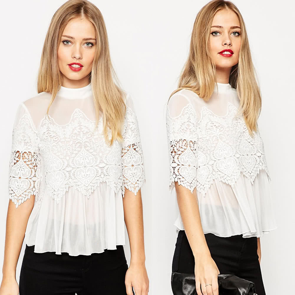 455b57f98 Lace Blouse Women Fashion Spring Summer Shirt Top Hollow Crochet Chiffon  Blouse White/Black