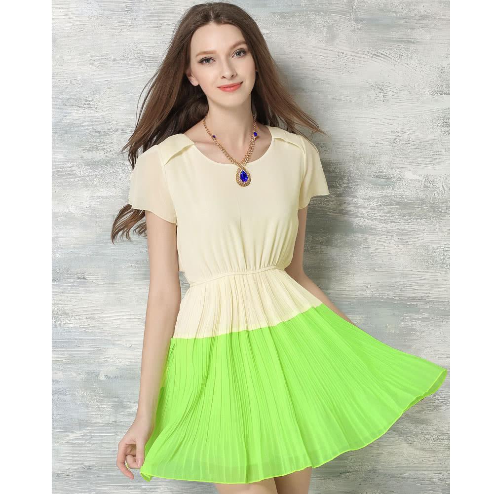 women summer chiffon dress contrast color o