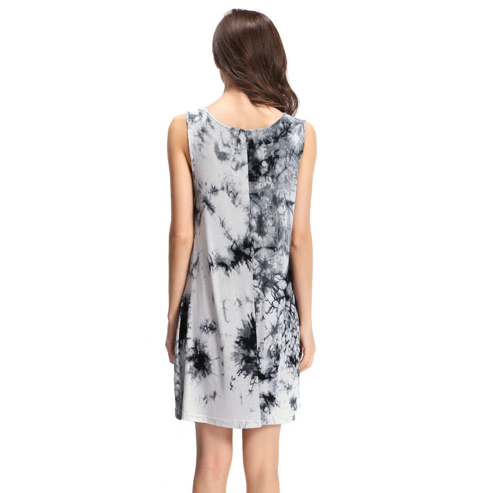 nouvel t sexy femmes mini robe tie dye ink print o cou sans manches soft sundress casual. Black Bedroom Furniture Sets. Home Design Ideas