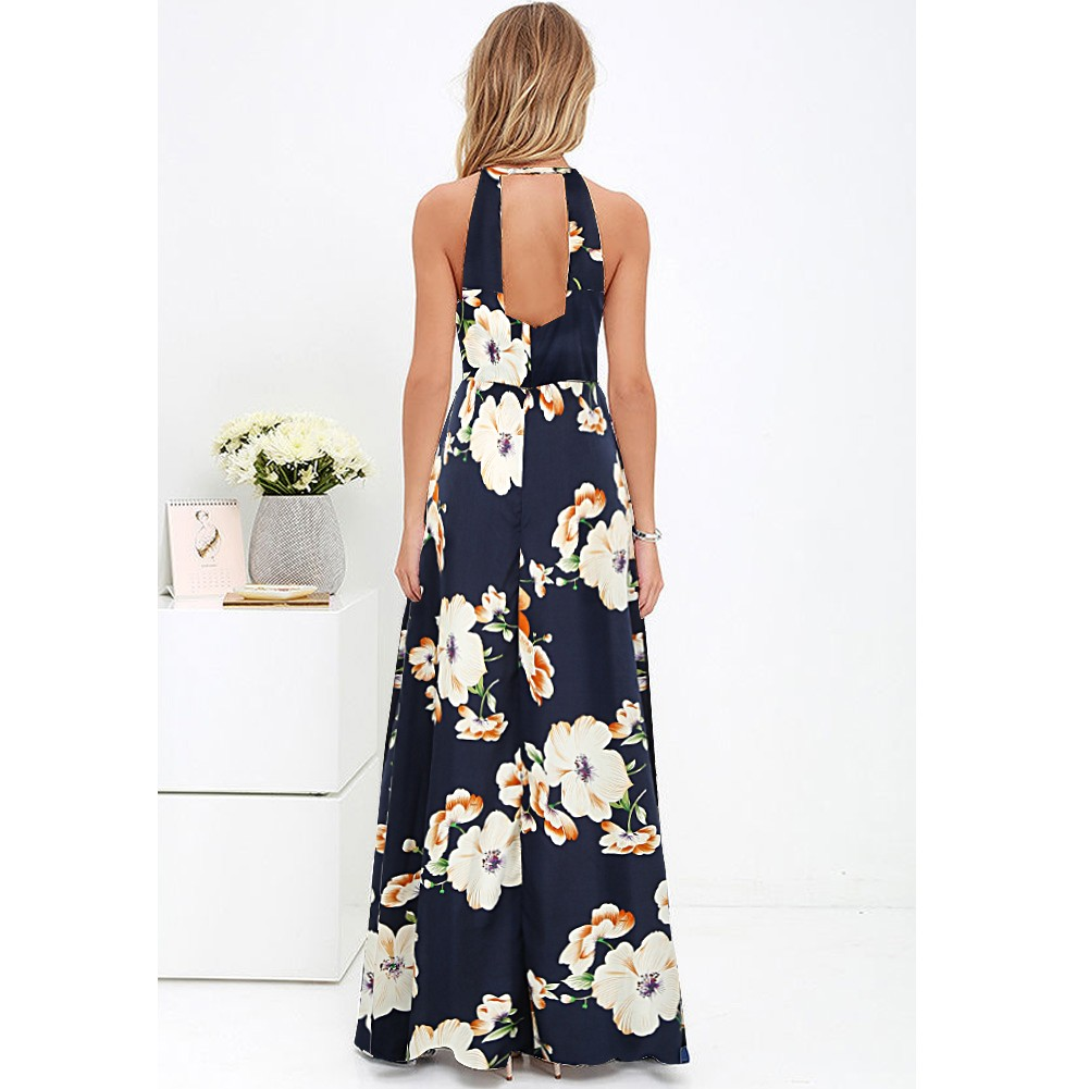 e0651ad74064 New Sexy Women Maxi Dress Halter Neck Floral Print Sleeveless Summer Beach  Holiday Long Slip Dress