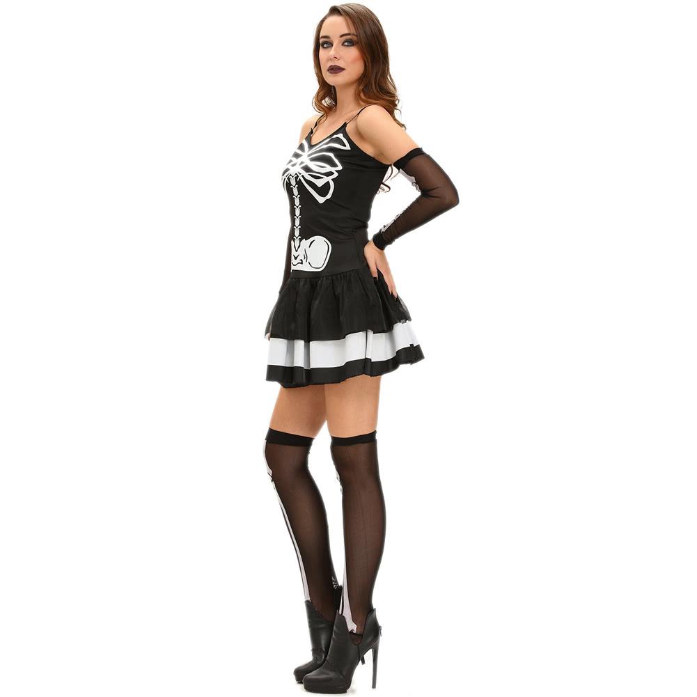 Cheap black s Sexy Women 3pcs Skeleton Halloween Costume Mini ...