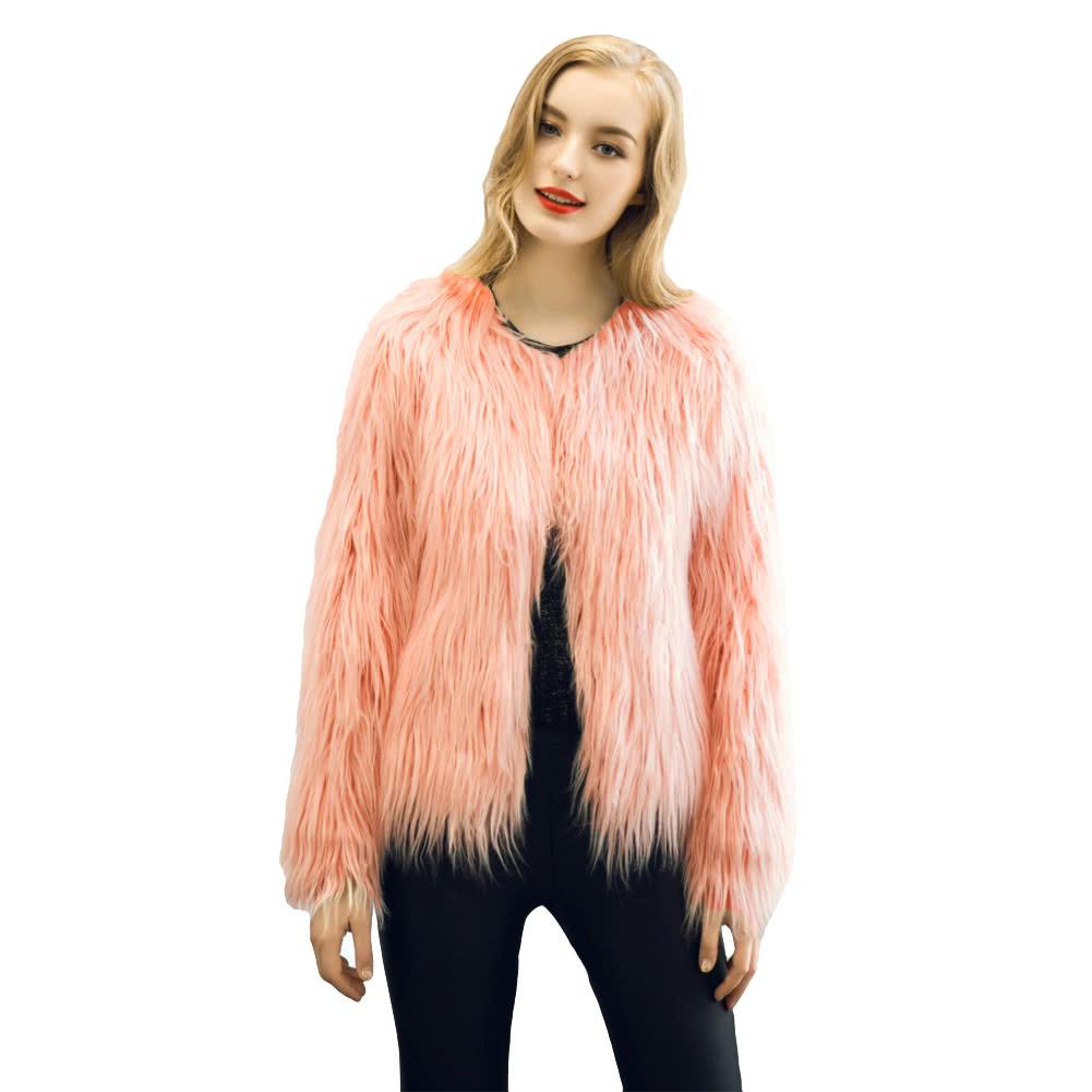 New Winter Women Faux Fur Coat Open Front Long Sleeve ...
