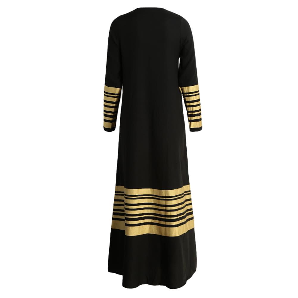 New Women Muslim Maxi Dress Stripes Zipper Long Sleeves Abaya Kaftan Islamic Robe Long Dress Orange/Black/Dark Blue black l Online Shopping | Tomtop