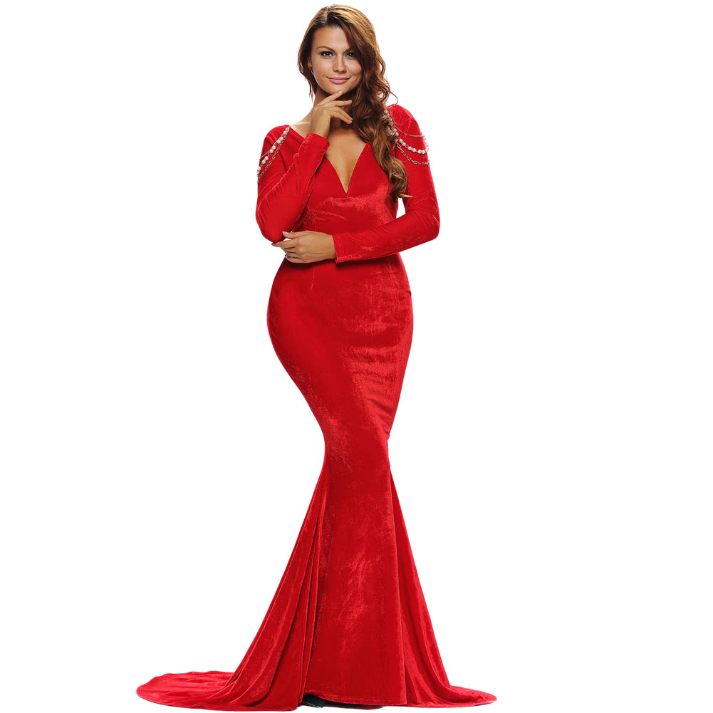 Red v neck ball evening gown sexy long formal cocktail pageant party prom dress