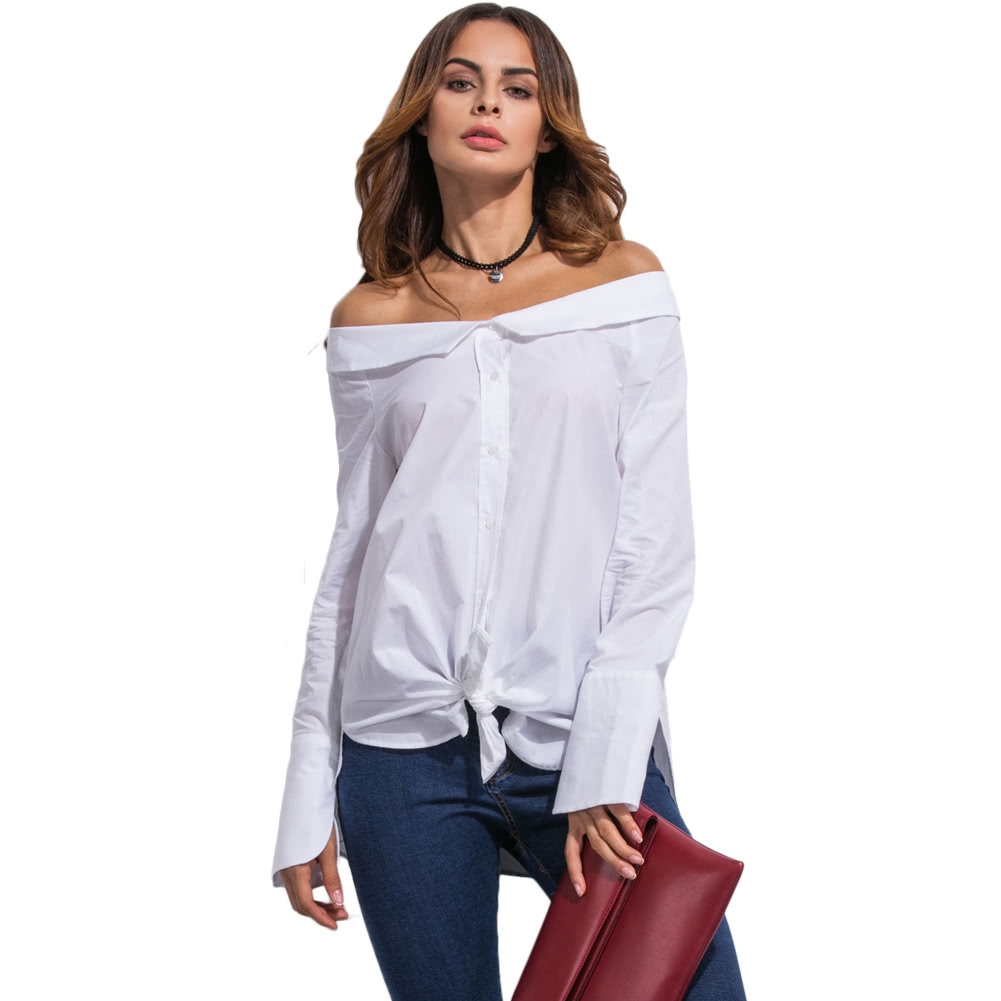 New Women Off Shoulder Blouse Fold Over Slash Neck Slit At Cuff Self