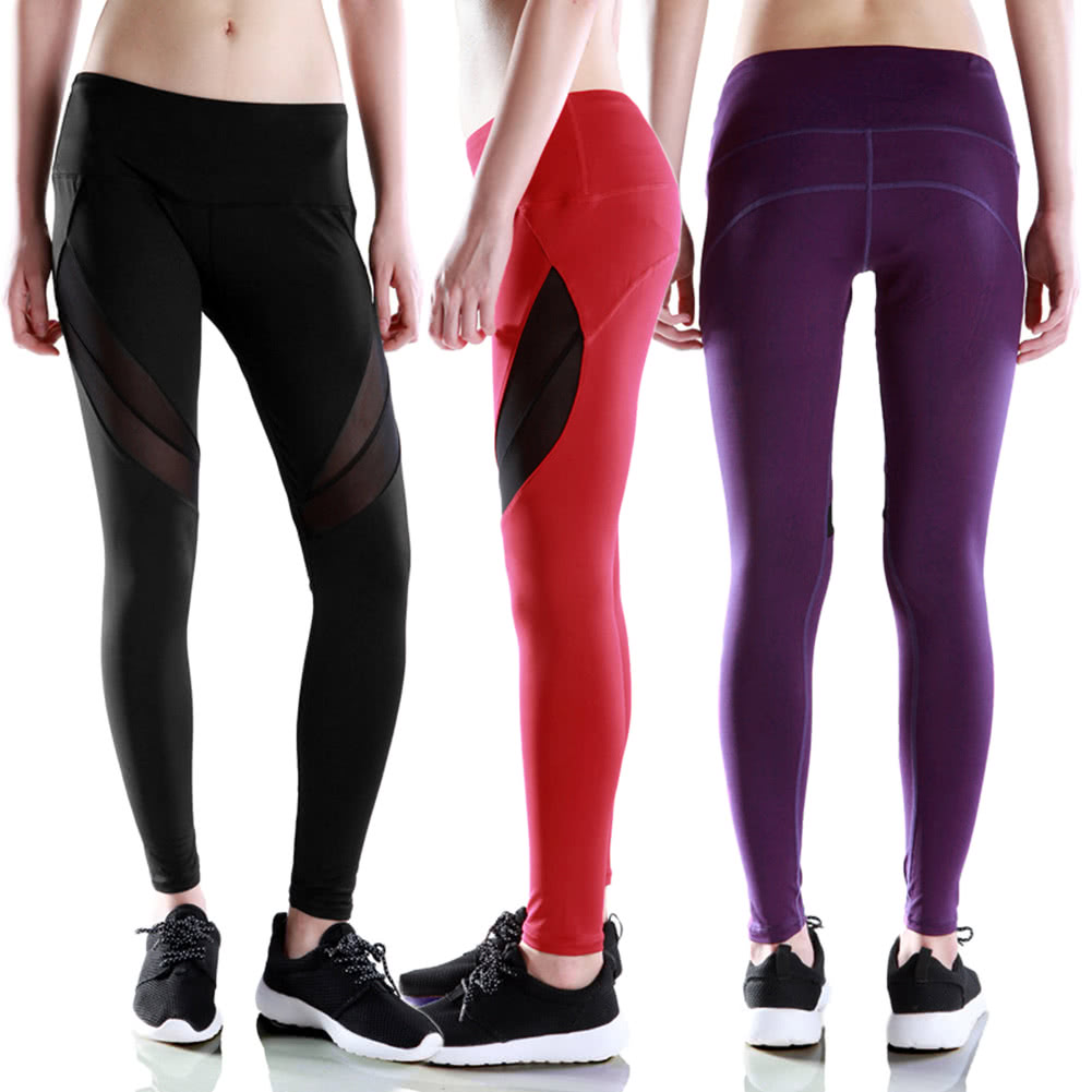 New Women Leggings Sports Pants Sheer Mesh Splicing High ...