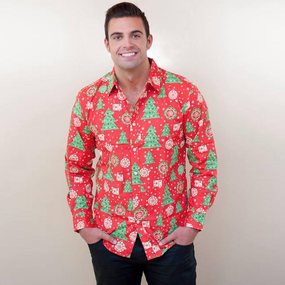 New Autumn Men Christmas Print Shirt Holiday Cartoon Long Sleeve