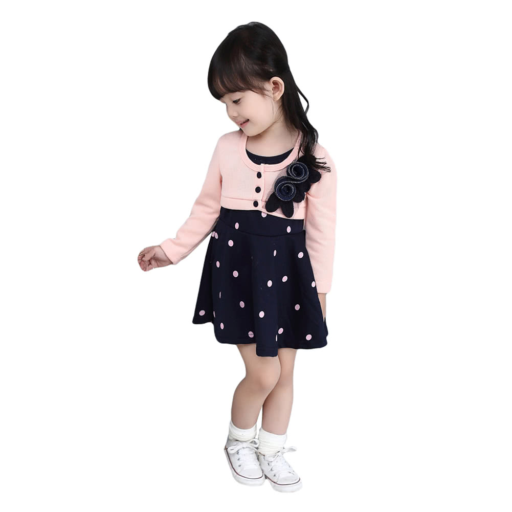 New Sweet Baby Kids Girl Dress Floral Embroidery Button Front Dot Print  Splice Long Sleeve Cute Princess Dress Watermelon Red Rose Pink 3t pink  Online ... 5f50908ec