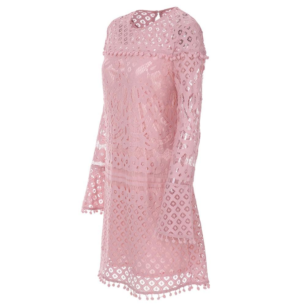 Nuevo vestido de encaje plisado de mujer elegante Pom Pom recorta el ...
