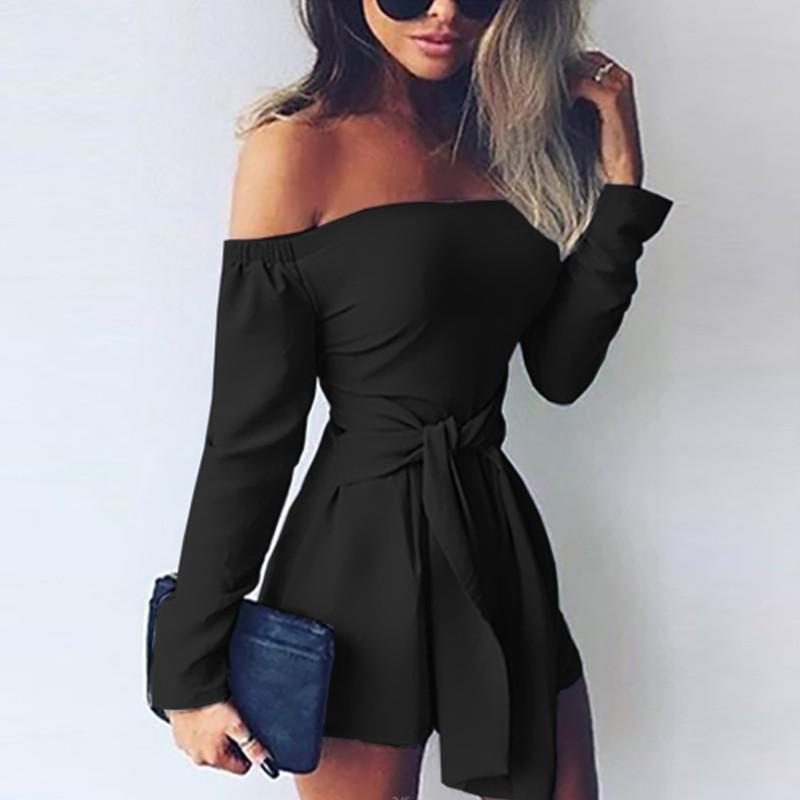 sexy women off shoulder jumpsuit solid color long sleeve. Black Bedroom Furniture Sets. Home Design Ideas