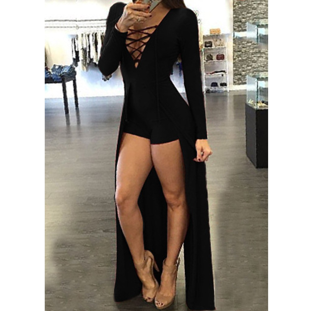 c8ec08c24c5b Autumn Sexy Rompers Women Lace-up Jumpsuit Long Sleeves Deep V Neck Skirt  Bodycon Bodysuit Shorts Overalls Playsuit Burgundy Black black l Online  Shopping