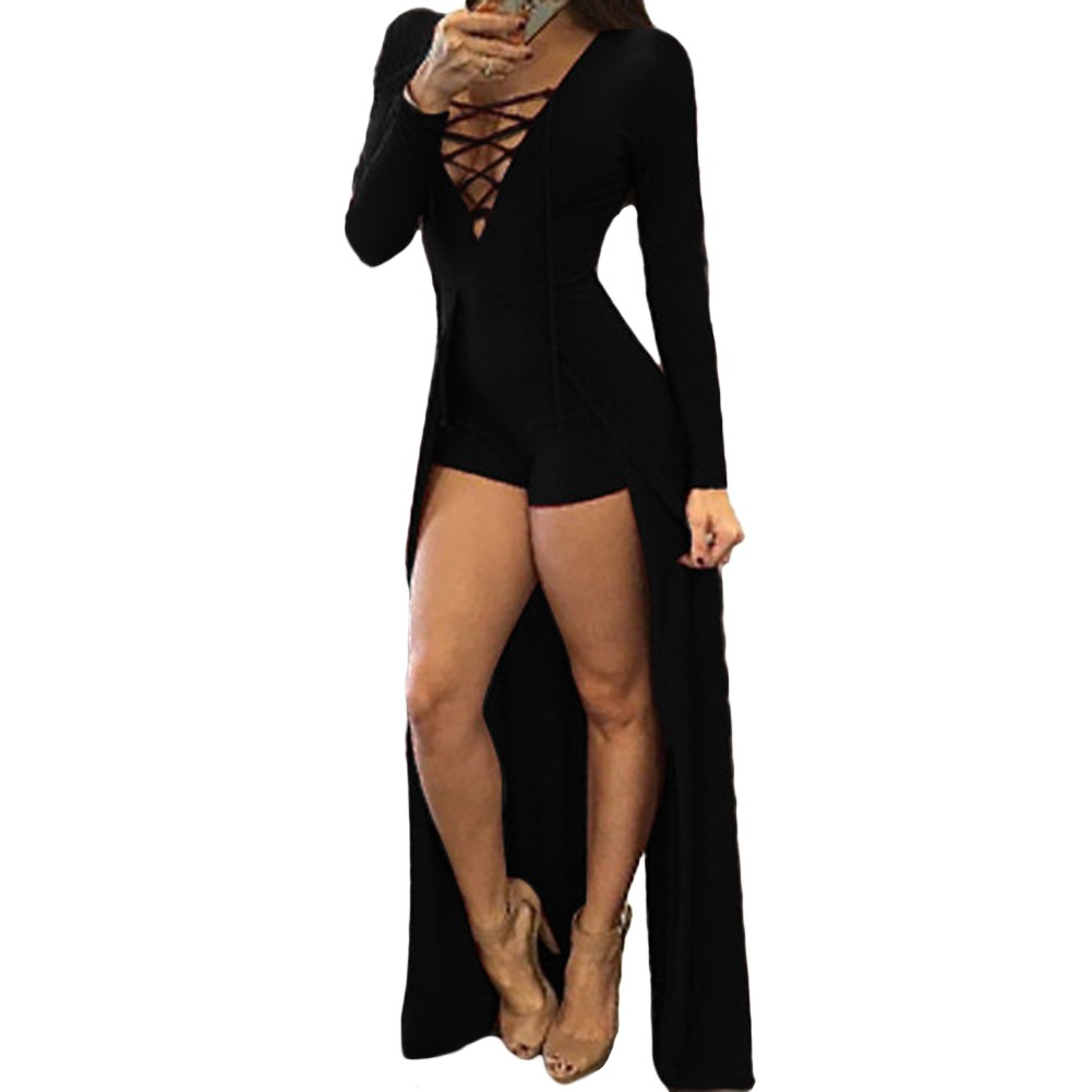 2440b0b1a8 Autumn Sexy Rompers Women Lace-up Jumpsuit Long Sleeves Deep V Neck Skirt  Bodycon Bodysuit Shorts Overalls Playsuit Burgundy Black