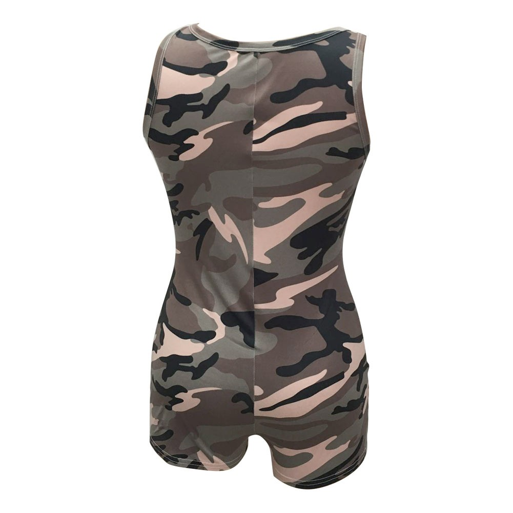 aecc524b48f9 Sexy Women Camouflage Sleeveless Playsuit Deep V Neck Bodysuit Shorts  Casual Overalls Vest Jumpsuit Rompers Army Green