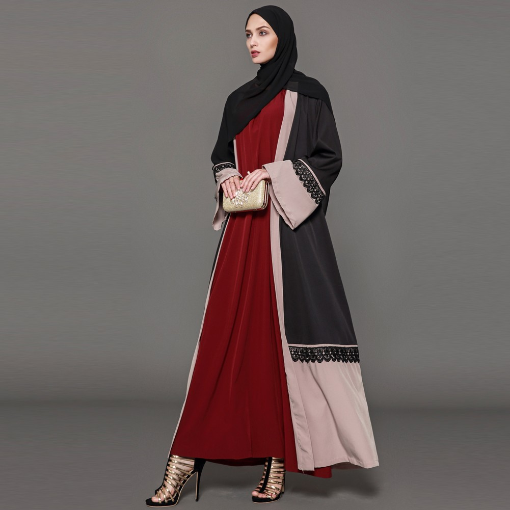 Women Lace Robe Muslim Cardigan Turkish Abaya Long Sleeve Dubai Islamic  Maxi Dress with Belt Black 9f01f6809f8d