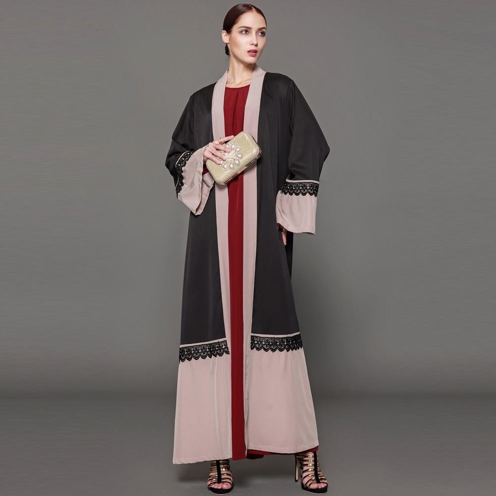 Women Lace Robe Muslim Cardigan Turkish Abaya Long Sleeve Dubai Islamic Maxi  Dress with Belt Black black xxl Online Shopping  8a611ca11