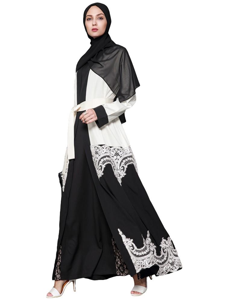 Women Muslim Robes Floral Lace Long Sleeve Abaya Kaftan Islamic Arab Long  Cardigan Large Size Belted Dress White white xxl Online Shopping  44f15e69e