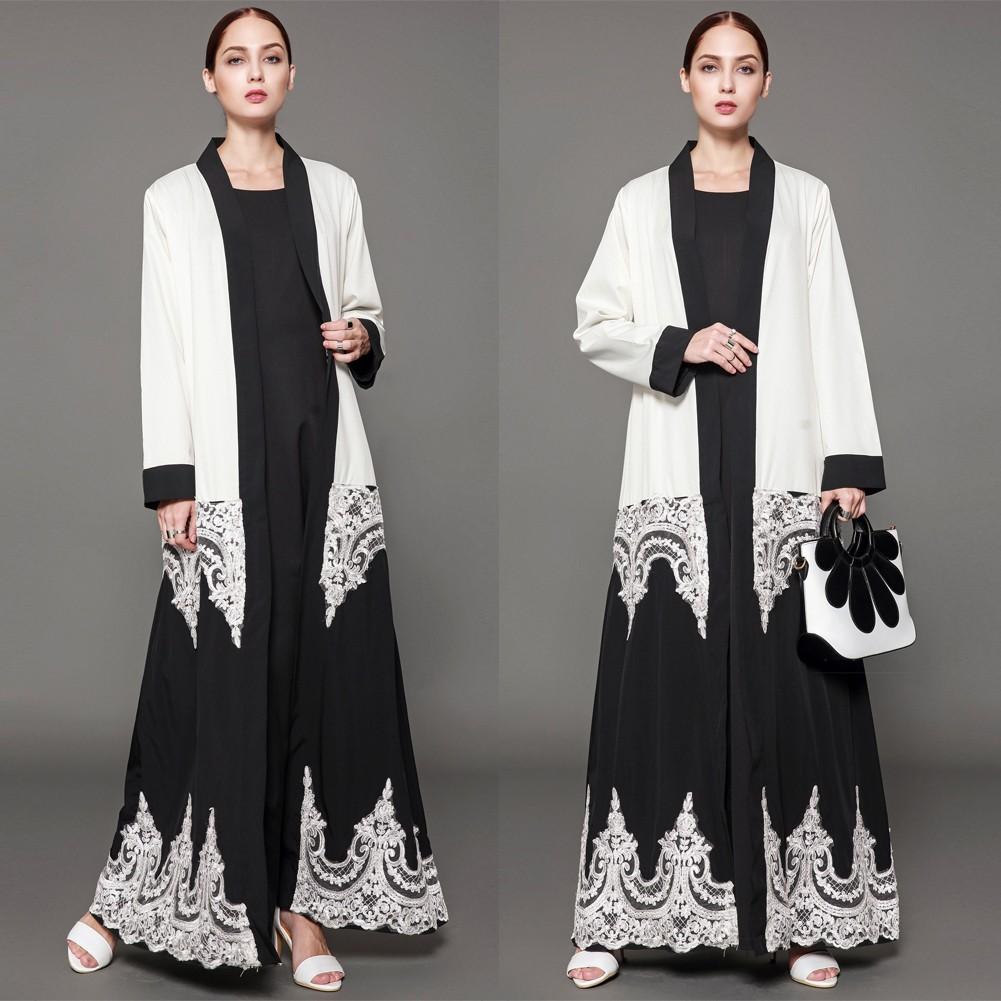 580e7da2a308 Donne musulmane abiti maniche lunghe in pizzo floreale Abaya Kaftan  Cardigan arabo islamico lungo largo abito a righe bianco bianca xxl -  Tomtop.com