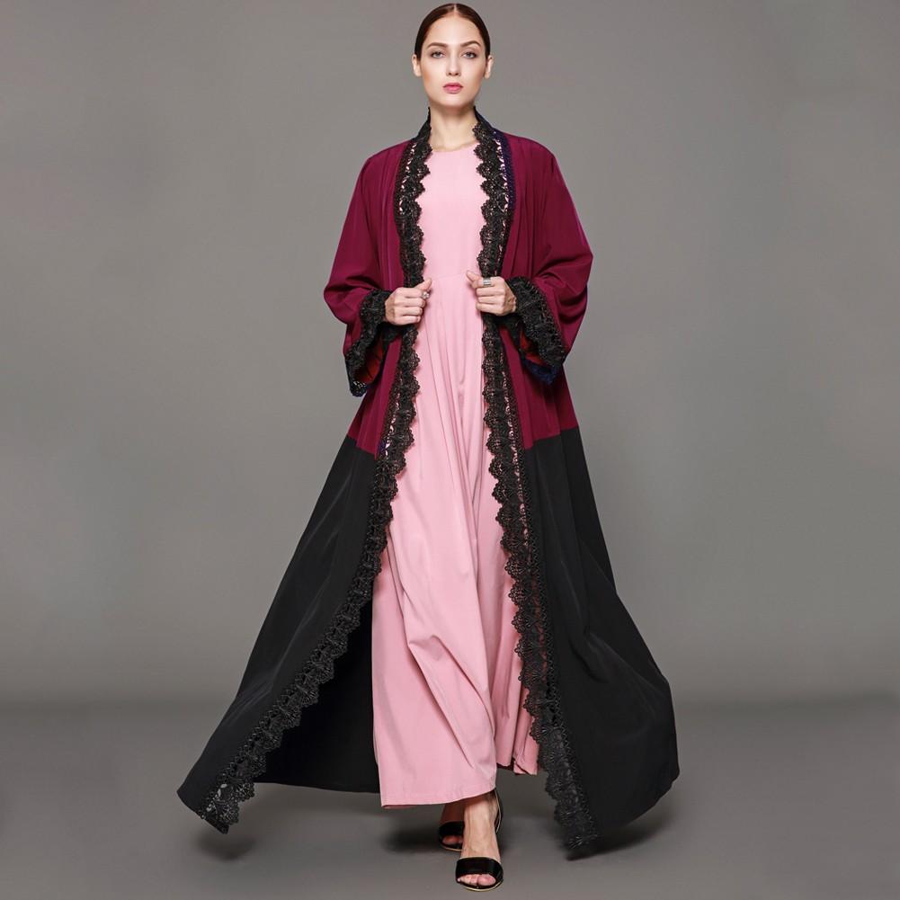 Women Plus Size Muslim Cardigan Crochet Lace Spliced Color Block Long  Sleeve Maxi Gown Islamic Dress Burgundy burgundy xxl Online Shopping |  Tomtop