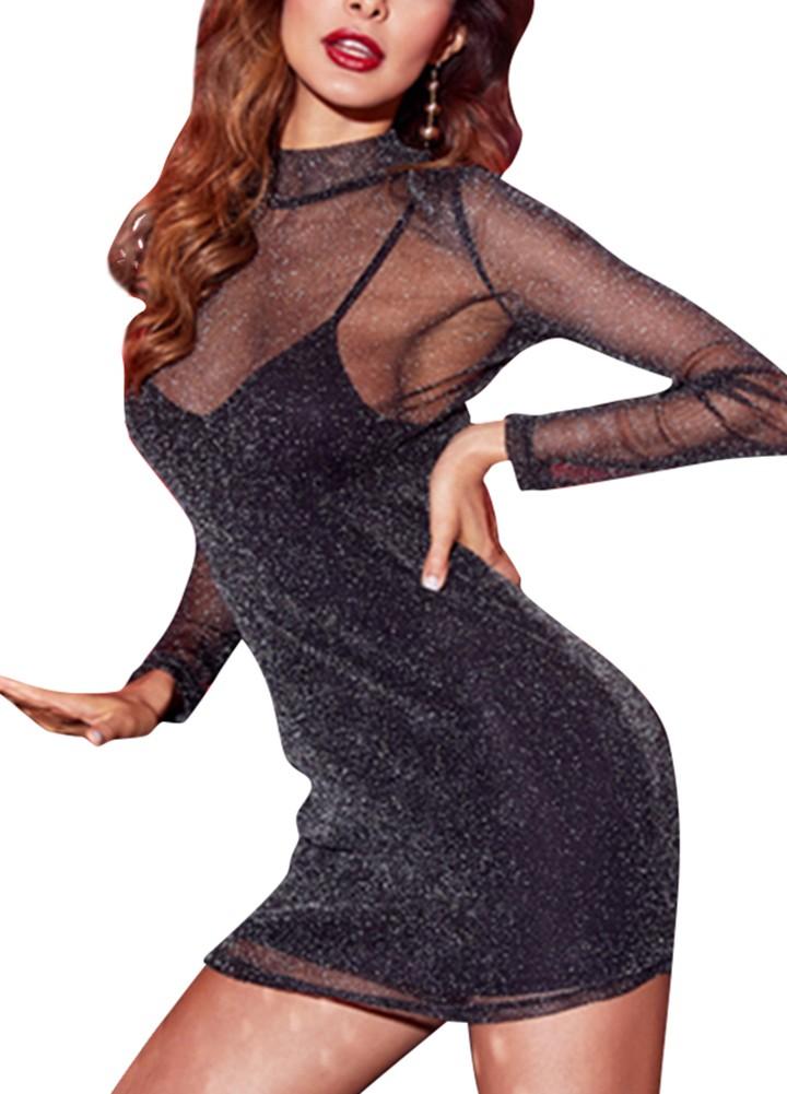 37dec4c75f45f 女性のセクシーなメタルメッシュミニドレススパゲッティストラップハイネック透明ドレス黒