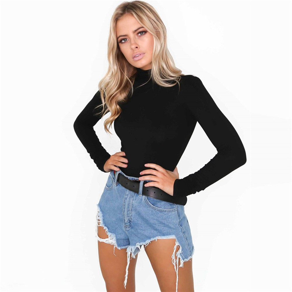 15666ba785 Women Bodysuit Top Sexy Rompers Club Jumpsuit Turtleneck Long Sleeves Solid  Playsuit Black White