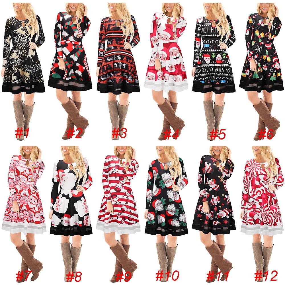 5efbf6fb7f Fashion Women Christmas Santa Claus Printed Long Sleeve Dress Mesh Splice O  Neck A-Line Swing Xmas Dress  10 l Online Shopping