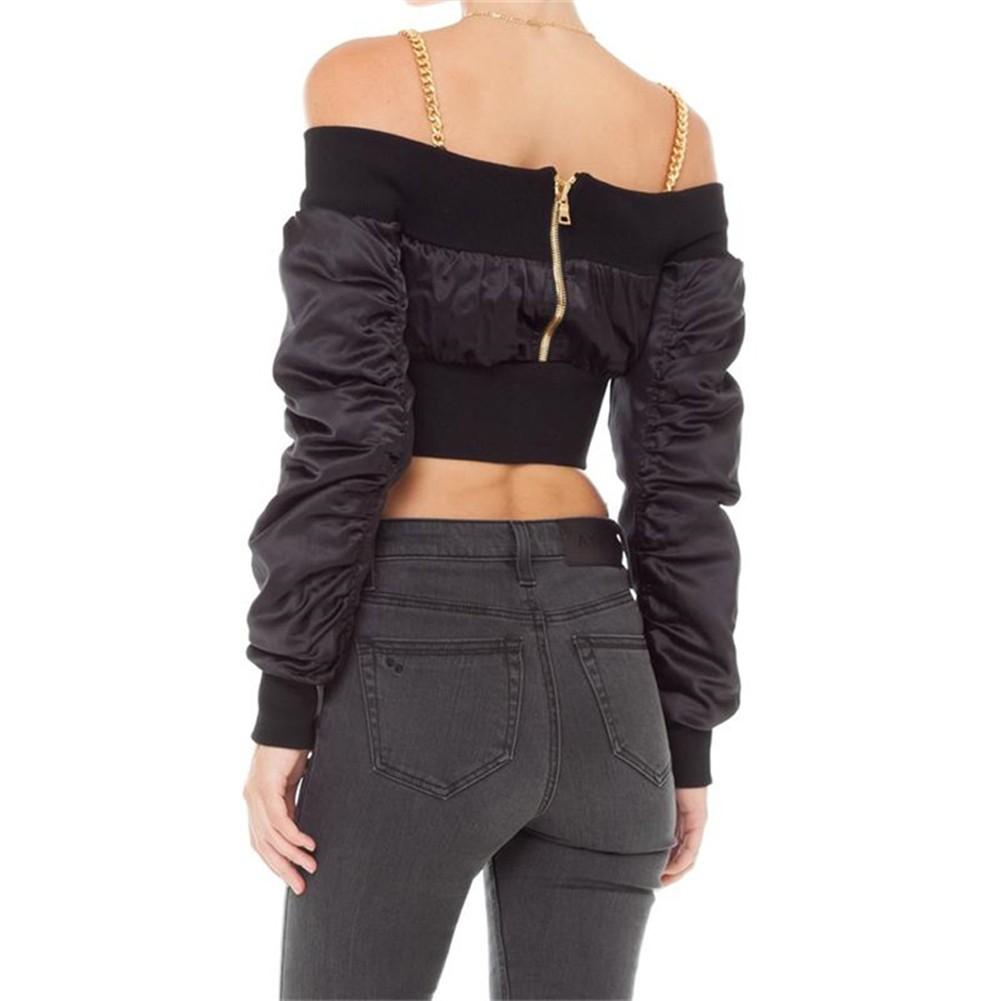6320d455fcd Sexy Women Off Shoulder Cropped Jacket Coat Long Sleeve Zipper Casual  Midriff Baring Crop Top Black/Khaki