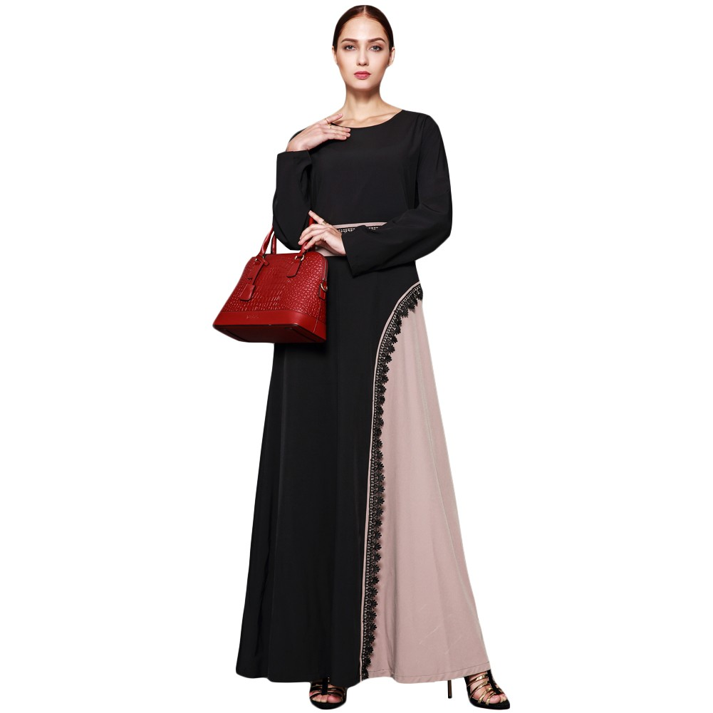 d453769fb9 Muslim Women Plus Size Maxi Dress Crochet Lace Splice O Neck Long Sleeves  Abaya Islamic Robe Kaftan Turkish Long Dress black xxl Online Shopping