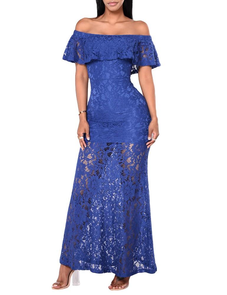 fcd7bdba07 Nuevo vestido de encaje floral de mujer sexy con volantes hombro delgado vestido  largo de cóctel Maxi Bodycon amarillo   azul real s rojo azul - Tomtop.com