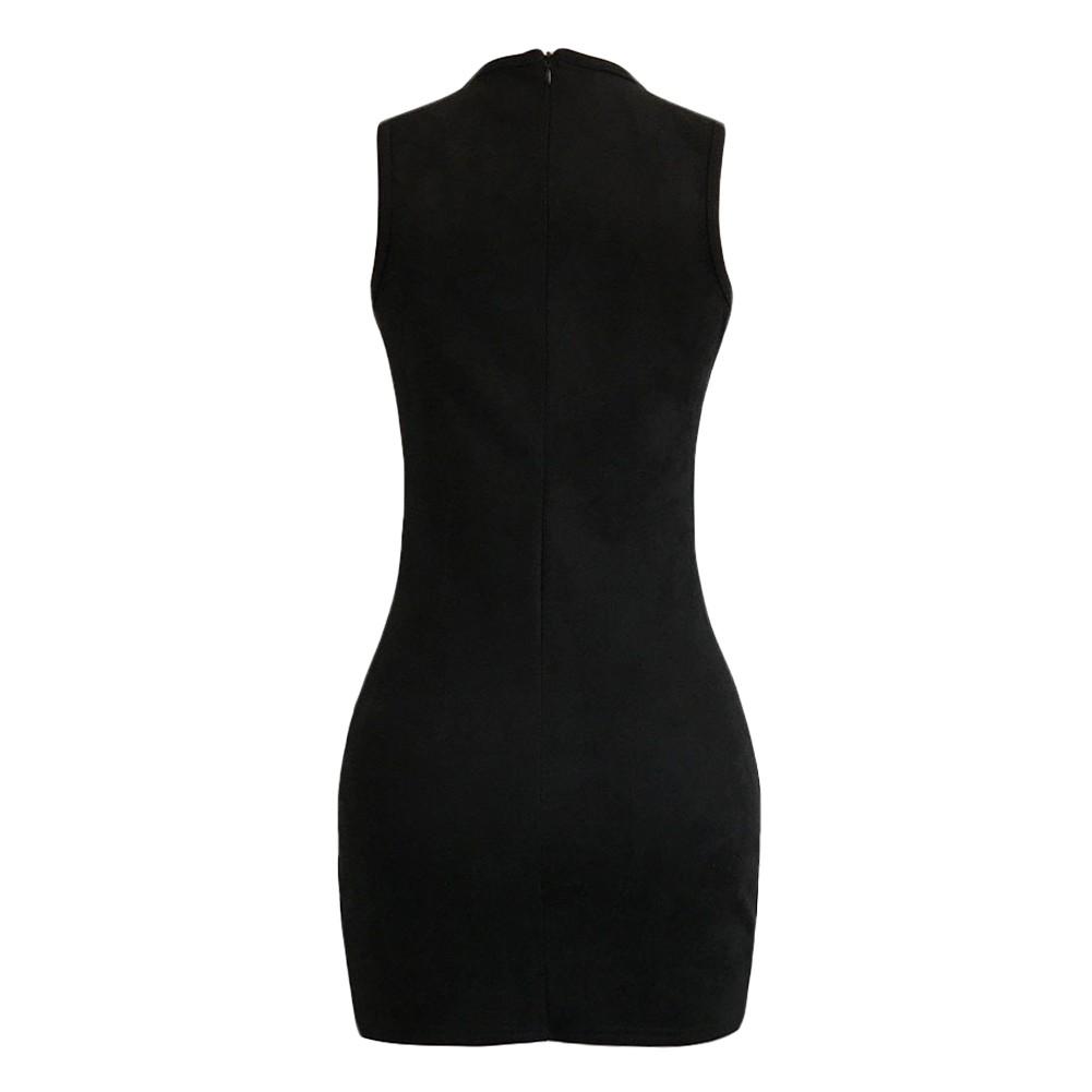 Sexy Women Suede Mini Dress Lace Up V-Neck Sleeveless Nightclub Party  Bodycon Pencil Dress dc6b69890