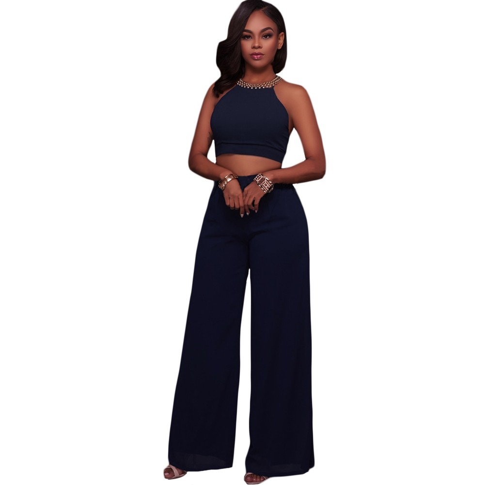 Women Cami Two Piece Set Halter Strap Crop Top Bandage Wide Leg Pants Set Party Nightclub Outfit Dark Blue/Pink/White darkblue l Online Shopping | Tomtop