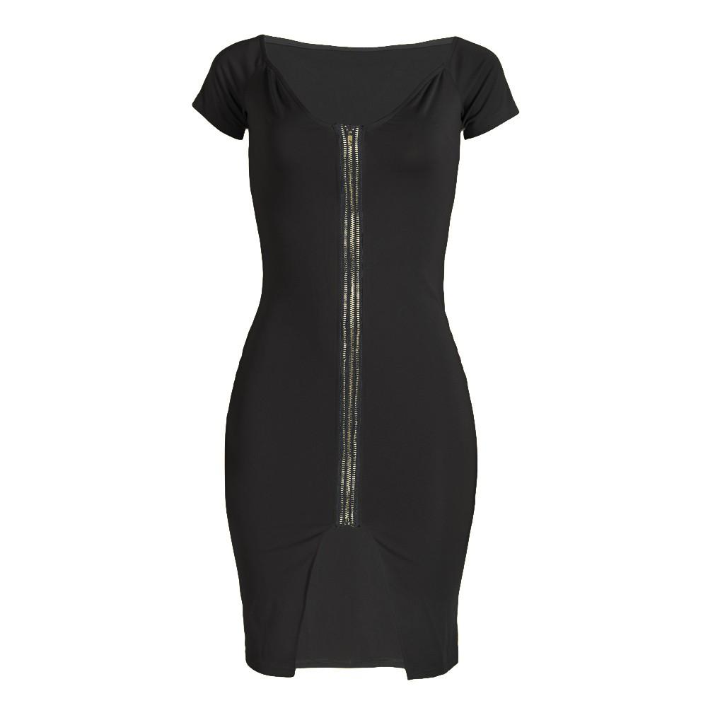 Sexy Women Off Shoulder Bodycon Dress Short Sleeve Solid Slim Split ...